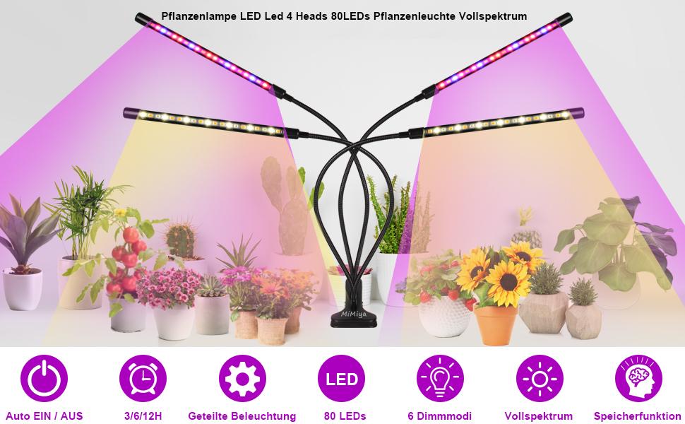Pflanzenlampe LED Led 4 Heads 80LEDs Pflanzenleuchte